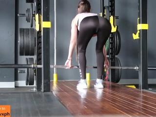 Fit girl gets orgasm in gym shower (risky public) - MaryVincXXX
