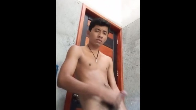 Bite mec gay hard Mexican guy plays with his big dick in the shower