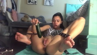 Mia Marie Latina Amateur Teen ties legs back, squirts and anal gapes