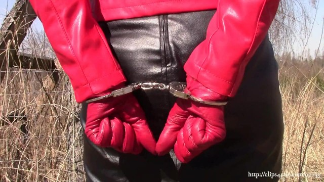 Leather mini skirt bondage Wife in black-red leather on walk with handcuffs sample