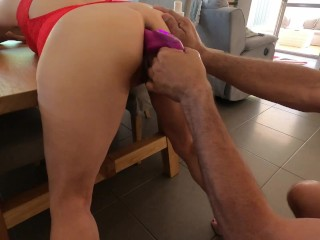 Made her bend over at dinner table & fucked her till she squirted – MIN MOO