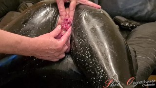 Slave Slut-Orgasma Celeste in black Latex stretched holes, enema and orgasm