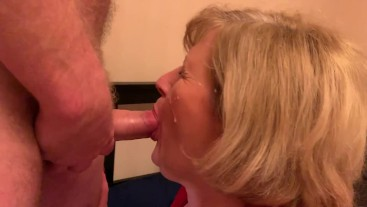 Filthy Mature slut has her face sprayed with Cum and loves it!
