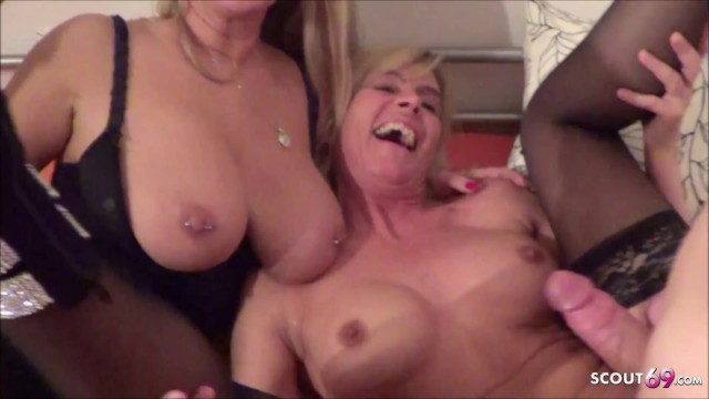 Mature young lesbiean - German young guy caught mom lesbian and join in ffm threesome