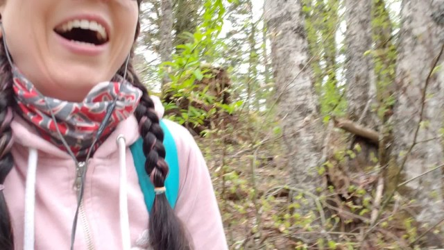 Peeing girls in woods - Happy girl pees in the woods