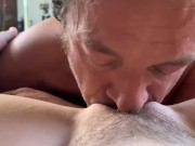 Blue eyed stud looks deep into your eyes as he makes you cum in his mouth
