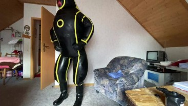 full try on MD-Latex Inflatable Cyborg Hazmat Suit