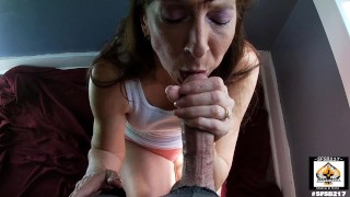 Granny Sucks and Swallows Cum From Oversized Cock