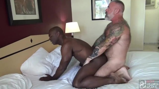 Silver daddy trailer gay Black muscle stud flip fucks tattooed silver daddy