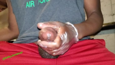KinkyJamaican Jerking off with huge cum shot, and I squeezed evey drop out!