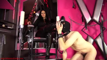 New leather boots worship