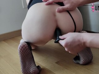 TEEN SLAVE after FOOTJOB ask for a ANAL BALL DEEP and CUM FART on her FEET