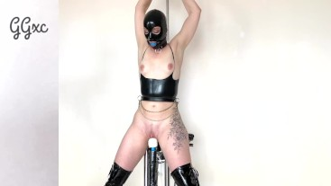HOT PAWG in Latex Cums Hard with Device Bondage Torture and Brutal Ass Fuck