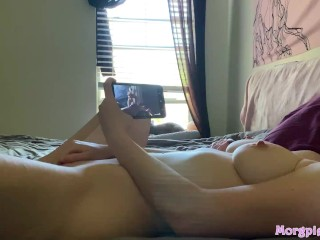 Little Teen Starts Her Day By Cumming To Porn