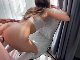 GF ass is destroyed on chair. ASS GAPE ASS TO PUSSY