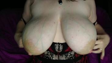 Huge natural hangers in tight lingerie