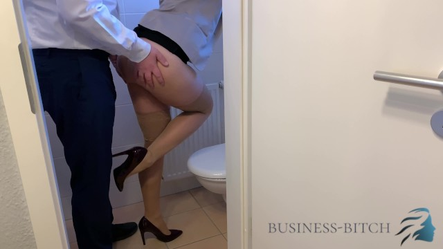 Business office porn Boss caught me on the office restroom - fuck without condom impregnates me