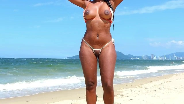 See my bikini See through bikini in public beach