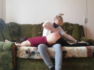 Girl was punished spanking