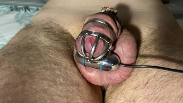 Vibrator mastrubation Teasing my slave in chastity with vibration egg