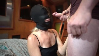 My gag mask I beg him to Face Fuck me, make me Gag and Cum in my Throat