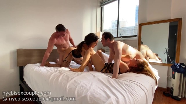 Hermaphrodite gets fucked - Two bisexual couples get together for the hottest foursome ever