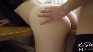 French Teen fucked in the Kitchen - Amateur LesPhiLou