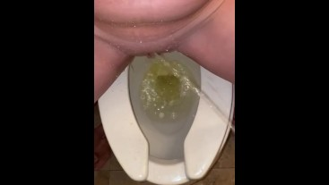 She loves when I piss all over her pussy while she's peeing Public bathroom