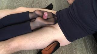 Screen Capture of Video Titled: office girl heeljob & nylon footjob after work cum on feet