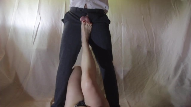 Femdom ball kicking video - Amateur ballbusting - kicked in the balls by her sexy feet and sucked