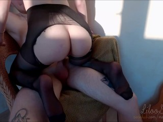 TORE TIGHTS AND FUCKED IN A TIGHT PUSSY.MY LITTLE WHORE ♡.CREAMPIE