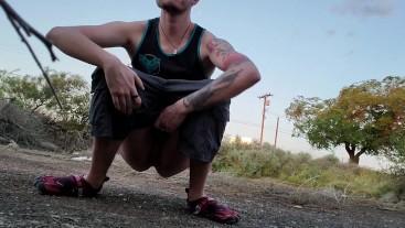 Risky public truck stop squat piss