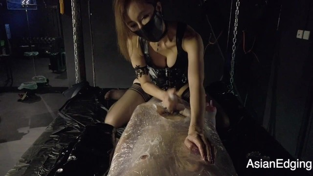 Asian wrap pants Hk mistress niti - wrapped bondage, edging handjob with ruined orgasm