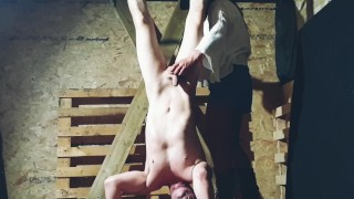 Suspended upside down in the barn by stunning cowgirl Jess