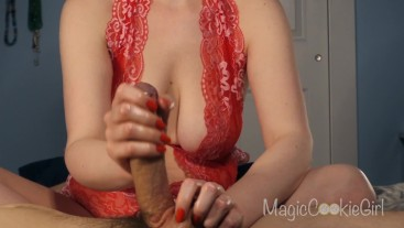 Sexy handjob with red lace and matching nails