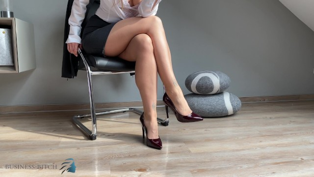 Sexy woman in business suit Get addicted of my secretary feet in pantyhose and high heels