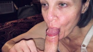 POV Mature cougar wife love's sucking young meat