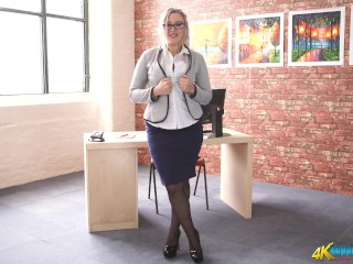 Busty Office Girl Strips Giving JOI
