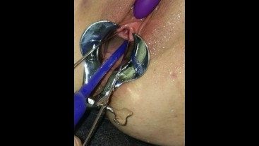 Extreme Female Urethral Sounding. Wet & Messy close up pissing