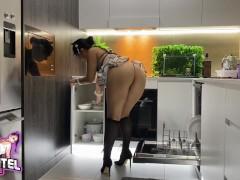 Big Booty Maid Cleans Big Cock! Deepthroat Rimming Cum Swallowed