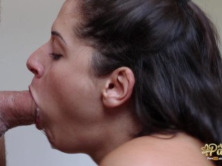 No mercy for her throat! Amazing intense blowjob: throbbing oral creampie