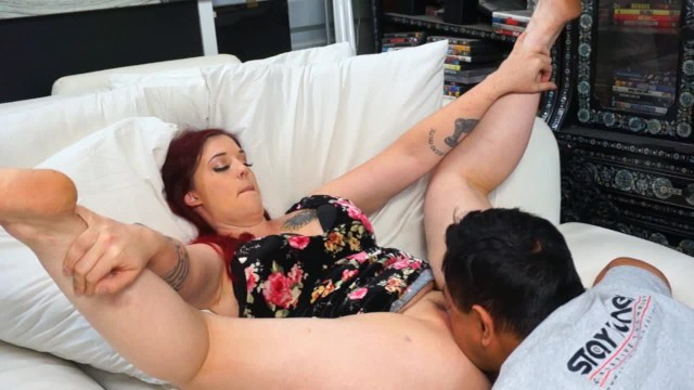 Playing with her ginger pussy - Thick tattooed ginger babe needs her hairy pussy licked