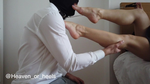 Heavenly pee Cuckold foot worship before wife leaves on a date
