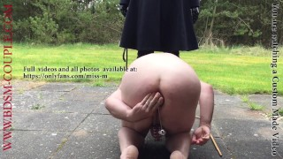 Miss M. makes slave p. insert a HUGE STEEL BALL in his ASS!