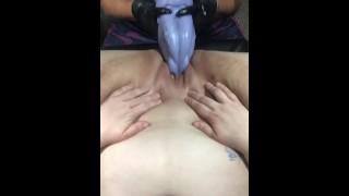 Huge Bad Dragon shoved in pussy