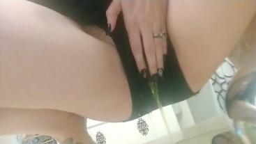 Pissing in the bathroom sink and my black panties