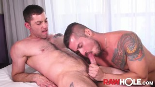 RAWHOLE Tatted Stud Rick Paixao Fucks Bottom After Rimming