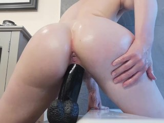 Struggling on 12 inches of big black cock.