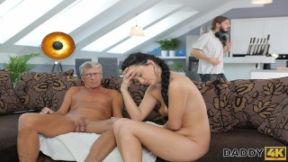 DADDY4K. Hottie wants to go for a walk but sucks old dick instead