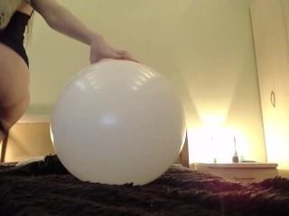 White big ballon blow then pop with ASS